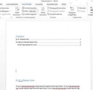 Tartalomjegyzek szerkesztese - Word -3